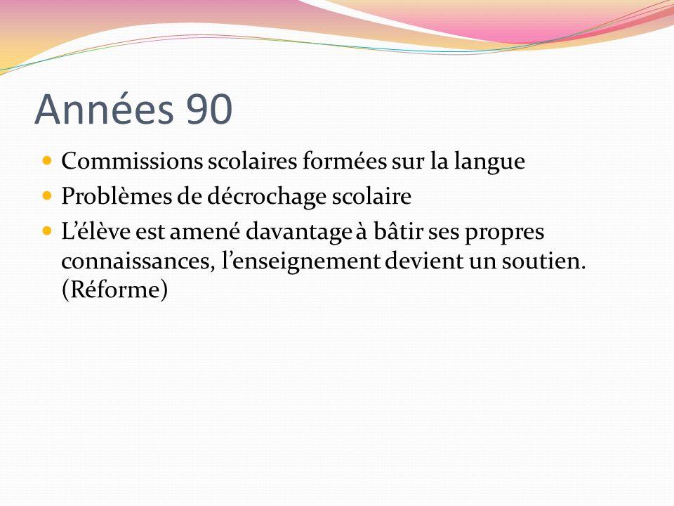 Années 90 Commissions scolaires formées sur la langue