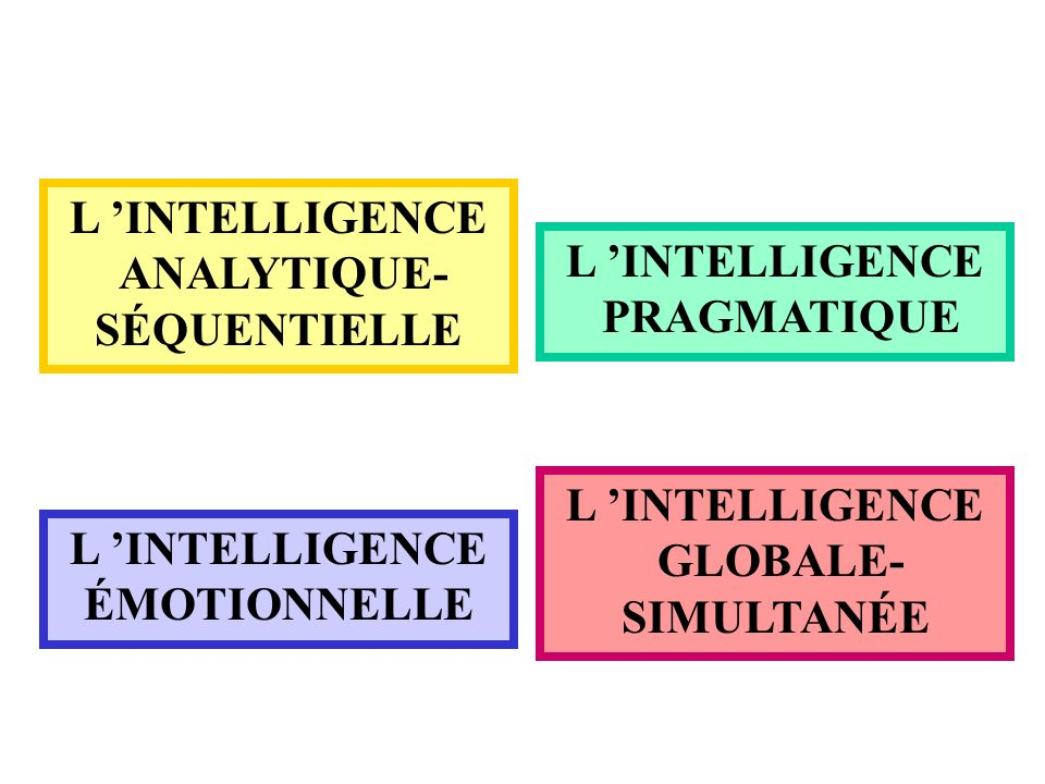 L 'INTELLIGENCE ANALYTIQUE- SÉQUENTIELLE. L 'INTELLIGENCE. PRAGMATIQUE. L 'INTELLIGENCE. GLOBALE-