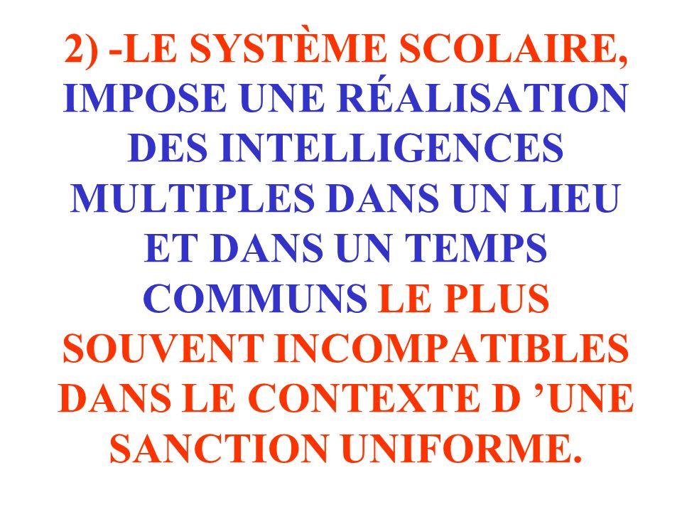 2) -LE SYSTÈME SCOLAIRE, IMPOSE UNE RÉALISATION DES INTELLIGENCES MULTIPLES DANS UN LIEU ET DANS UN TEMPS COMMUNS LE PLUS SOUVENT INCOMPATIBLES DANS LE CONTEXTE D 'UNE SANCTION UNIFORME.