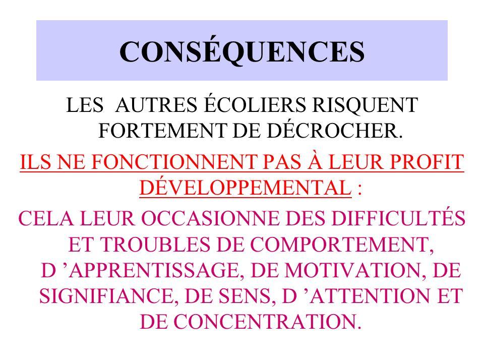 CONSÉQUENCES LES AUTRES ÉCOLIERS RISQUENT FORTEMENT DE DÉCROCHER.