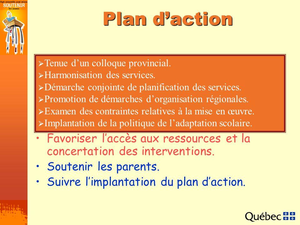 Plan d'action Tenue d'un colloque provincial. Harmonisation des services. Démarche conjointe de planification des services.