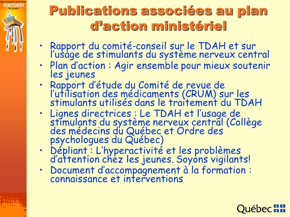 Publications associées au plan d'action ministériel