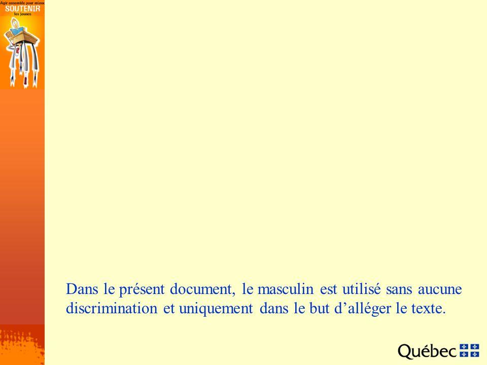 Dans le présent document, le masculin est utilisé sans aucune discrimination et uniquement dans le but d'alléger le texte.
