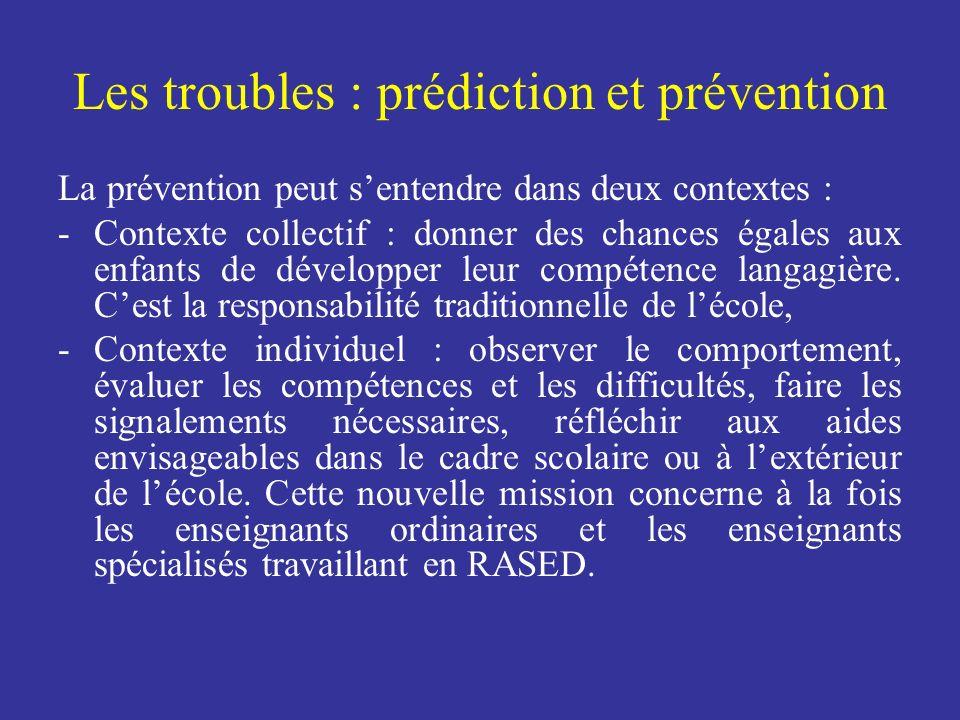 Les troubles : prédiction et prévention