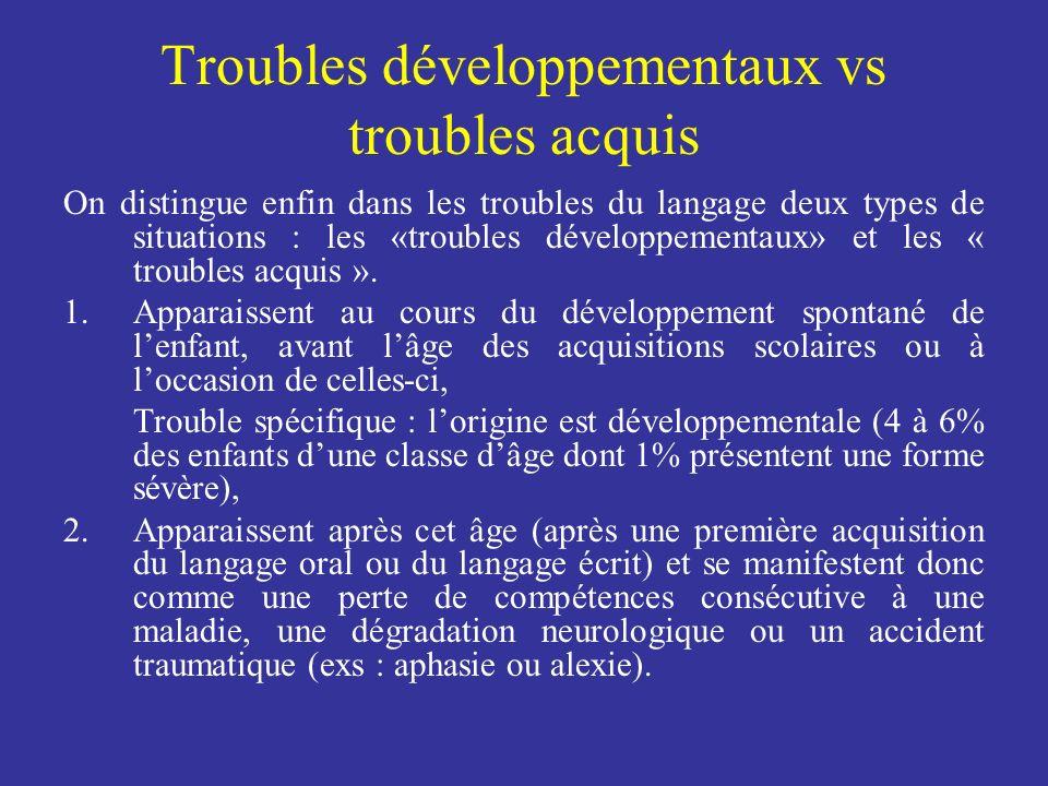 Troubles développementaux vs troubles acquis