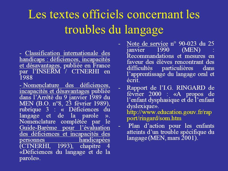 Les textes officiels concernant les troubles du langage