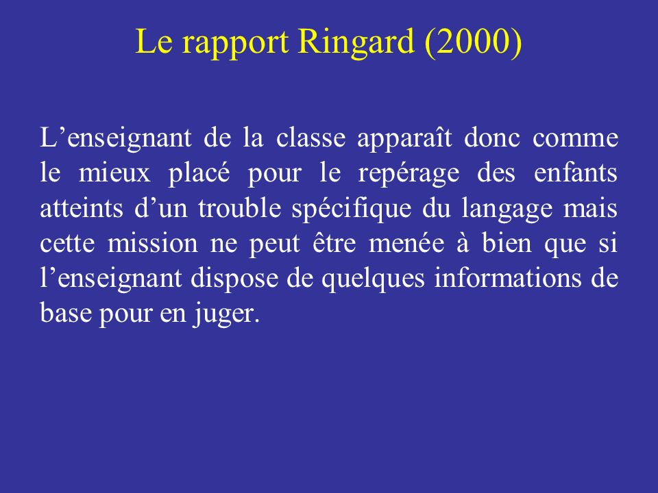 Le rapport Ringard (2000)