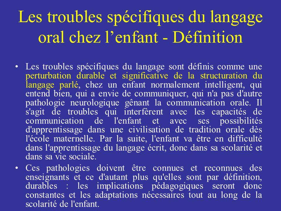 Les troubles spécifiques du langage oral chez l'enfant - Définition