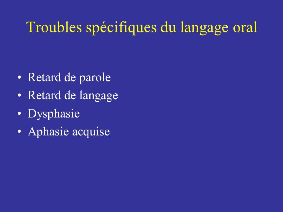 Troubles spécifiques du langage oral