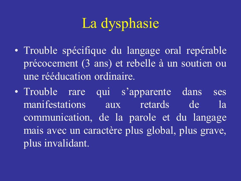 La dysphasie Trouble spécifique du langage oral repérable précocement (3 ans) et rebelle à un soutien ou une rééducation ordinaire.
