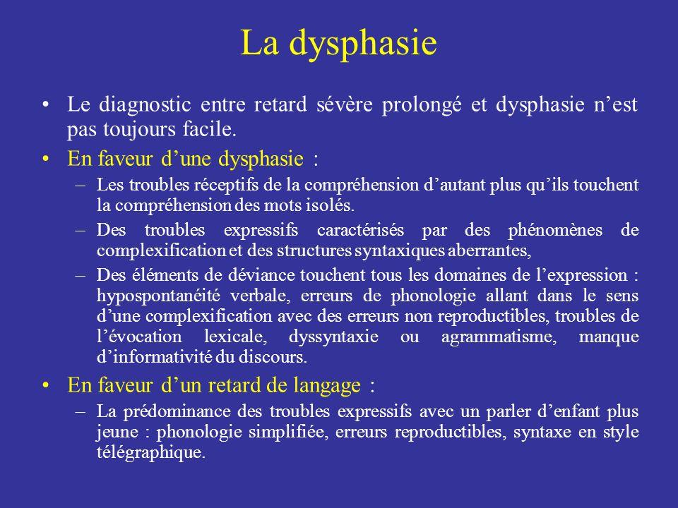 La dysphasie Le diagnostic entre retard sévère prolongé et dysphasie n'est pas toujours facile. En faveur d'une dysphasie :