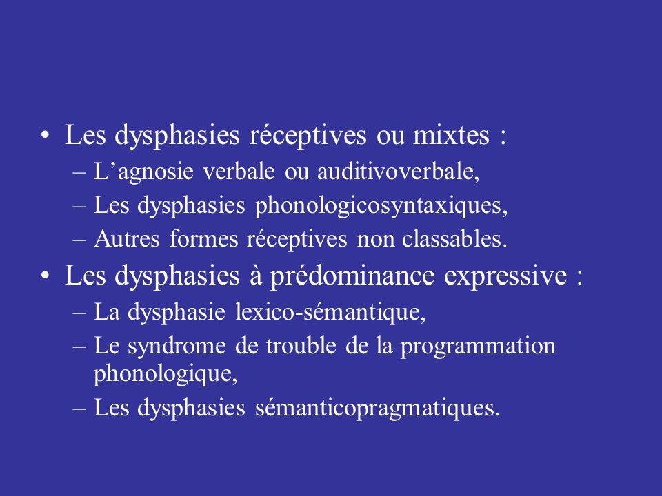 Les dysphasies réceptives ou mixtes :