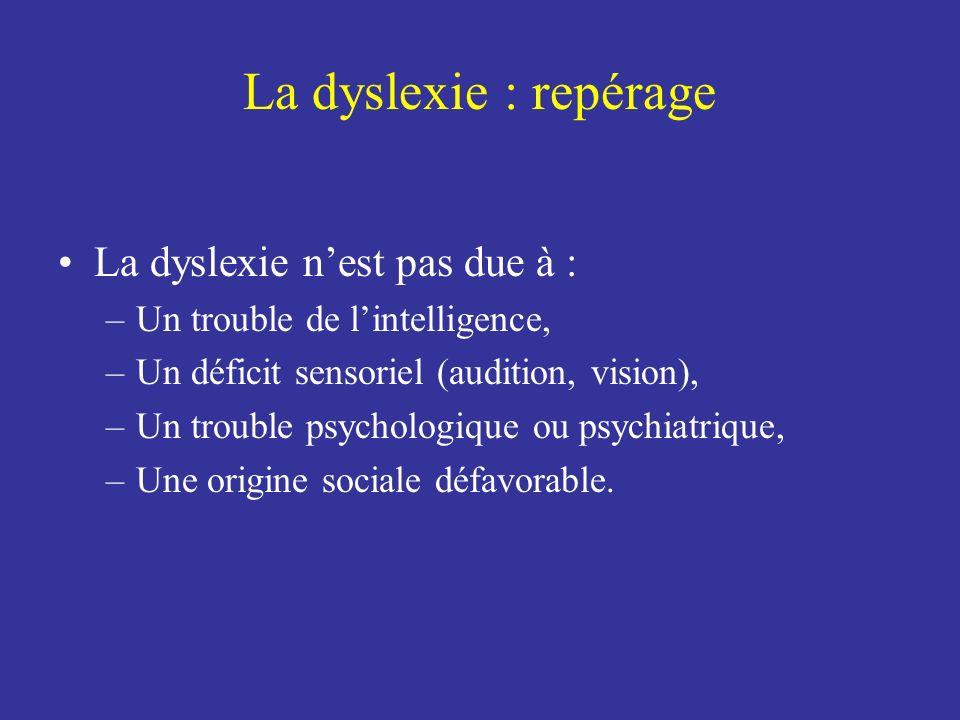 La dyslexie : repérage La dyslexie n'est pas due à :
