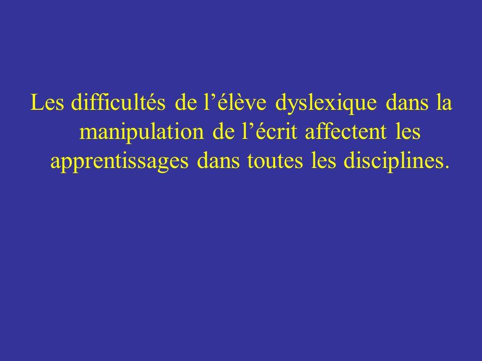 Les difficultés de l'élève dyslexique dans la manipulation de l'écrit affectent les apprentissages dans toutes les disciplines.