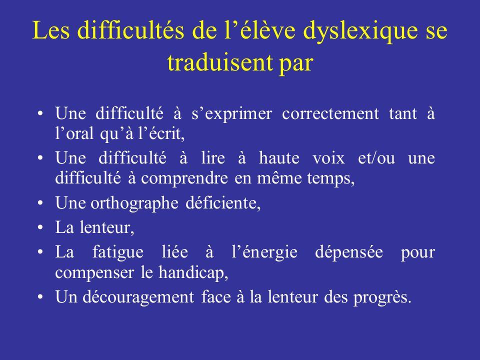 Les difficultés de l'élève dyslexique se traduisent par