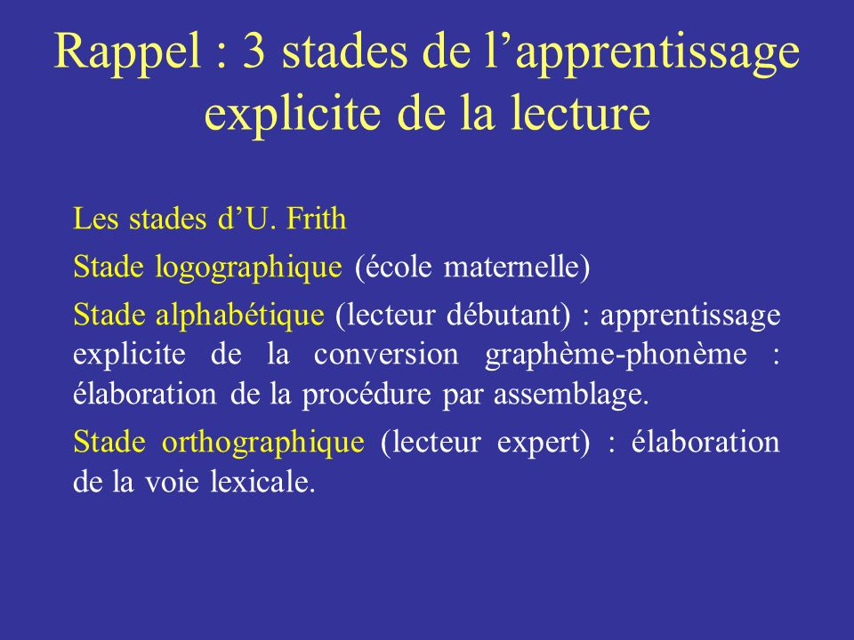 Rappel : 3 stades de l'apprentissage explicite de la lecture