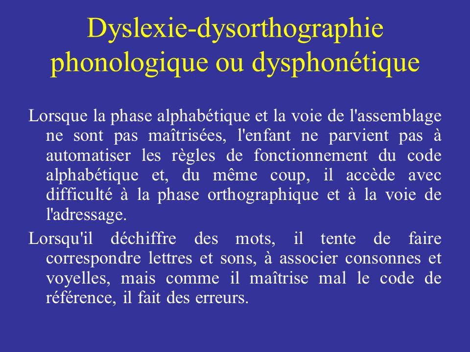 Dyslexie-dysorthographie phonologique ou dysphonétique