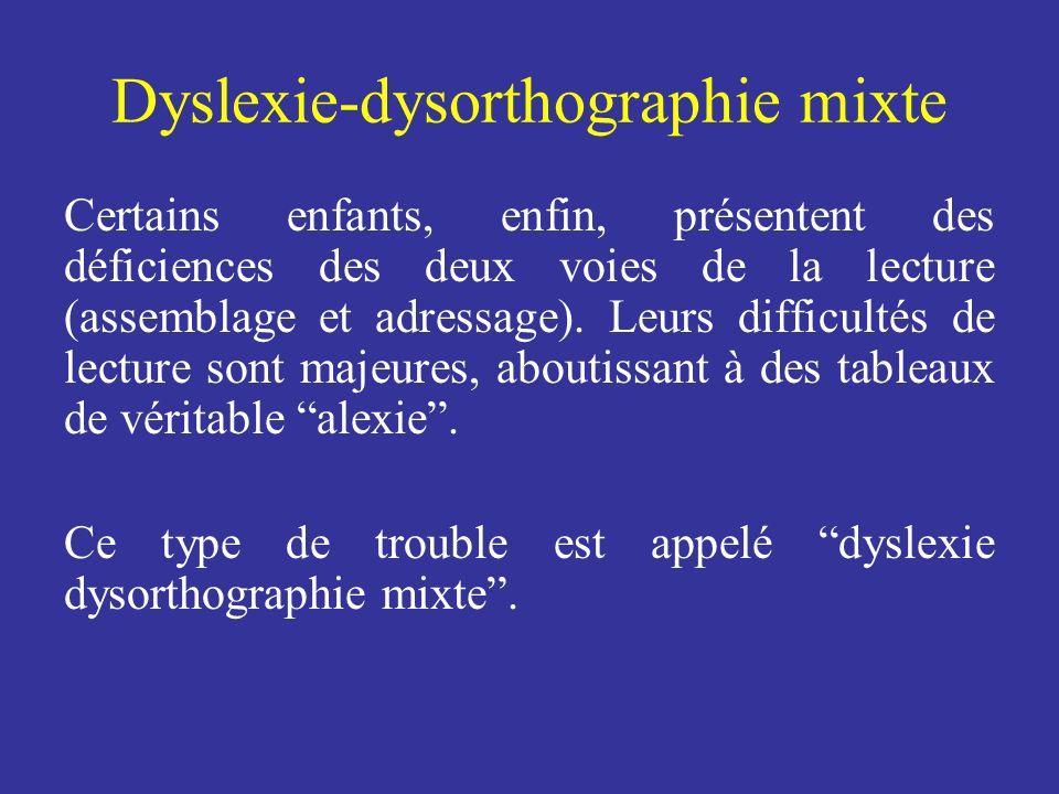 Dyslexie-dysorthographie mixte