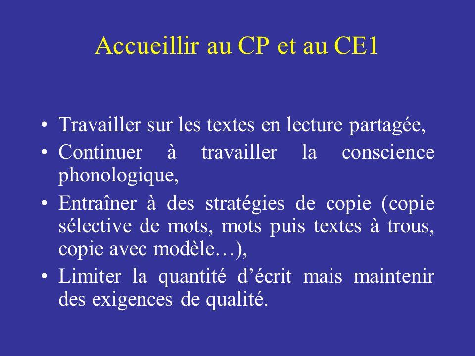 Accueillir au CP et au CE1