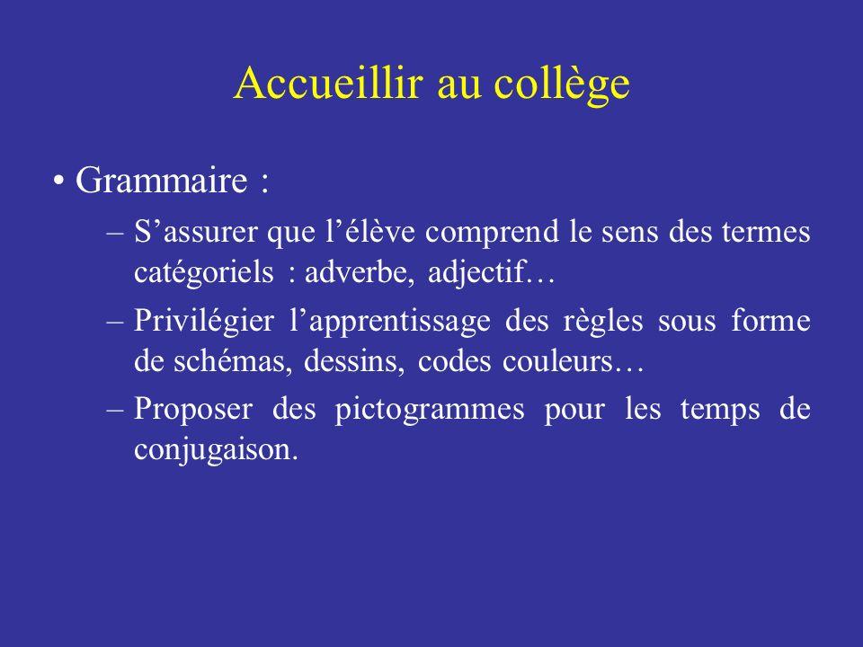 Accueillir au collège Grammaire :