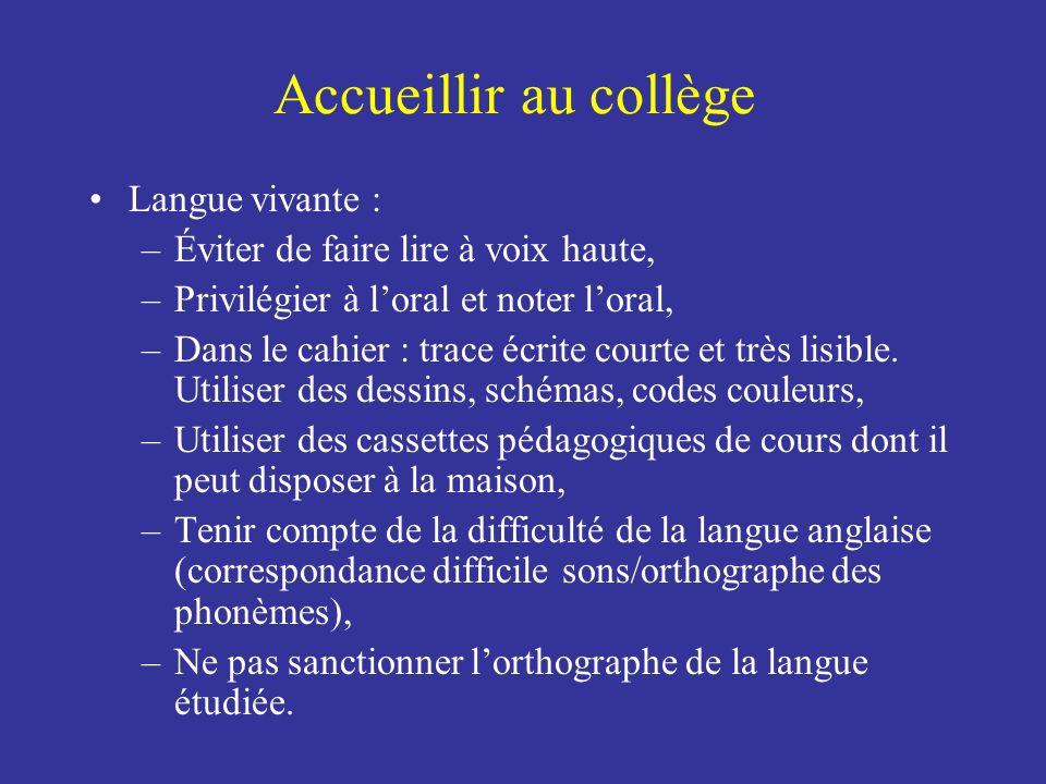 Accueillir au collège Langue vivante :