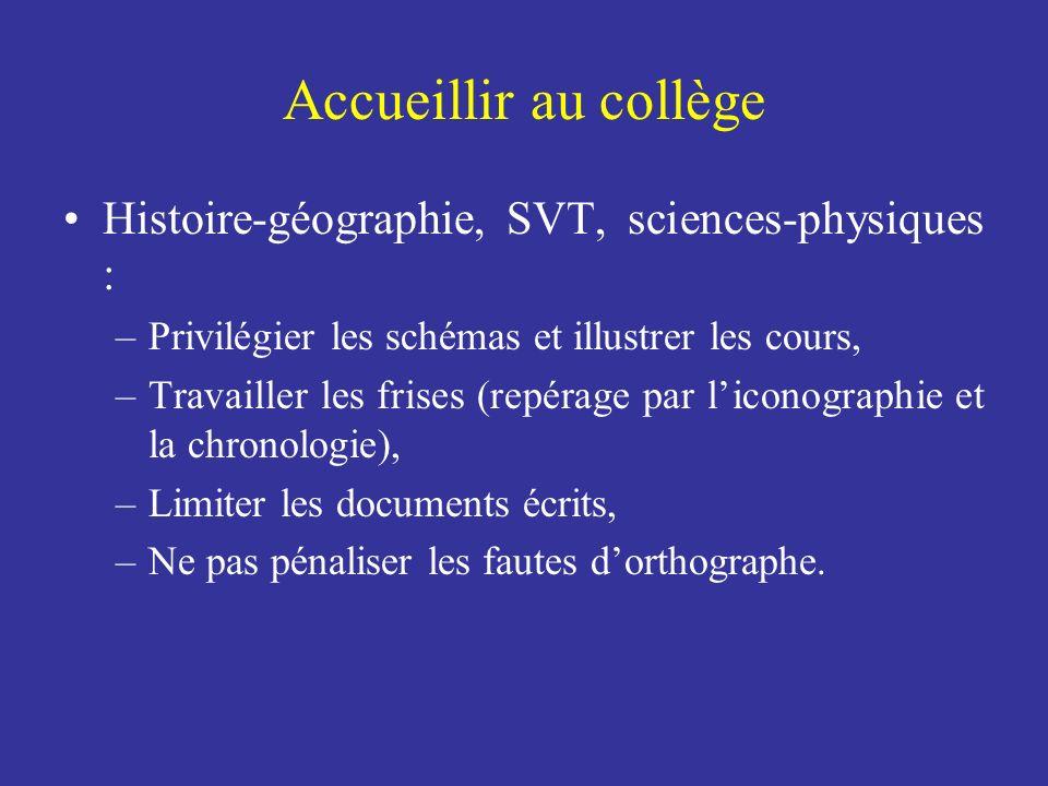Accueillir au collège Histoire-géographie, SVT, sciences-physiques :