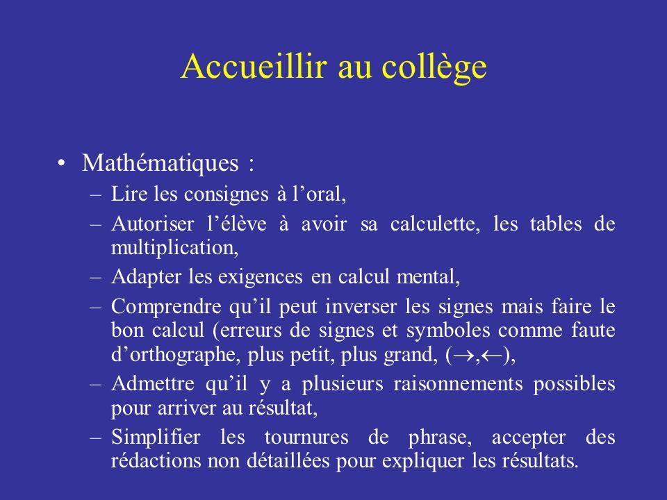 Accueillir au collège Mathématiques : Lire les consignes à l'oral,