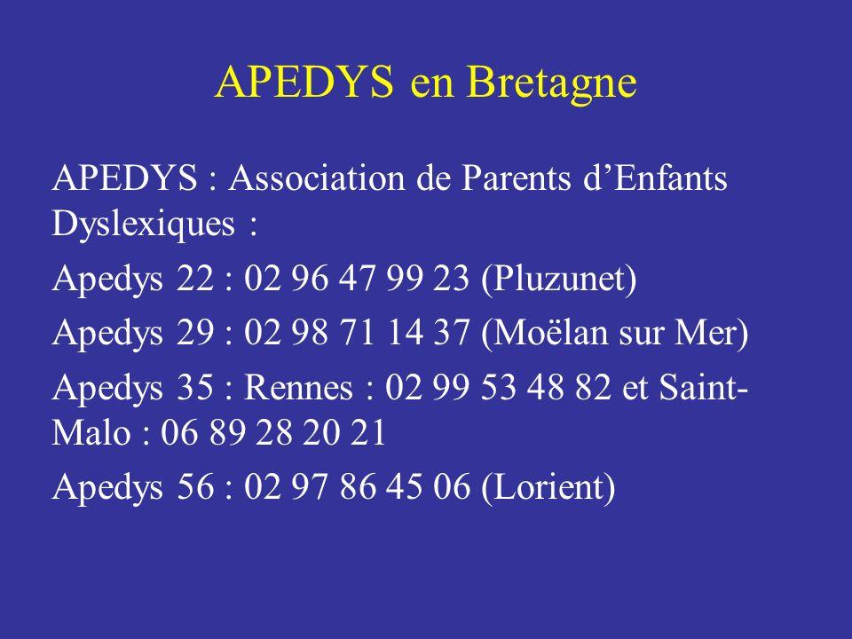 APEDYS en Bretagne APEDYS : Association de Parents d'Enfants Dyslexiques : Apedys 22 : 02 96 47 99 23 (Pluzunet)