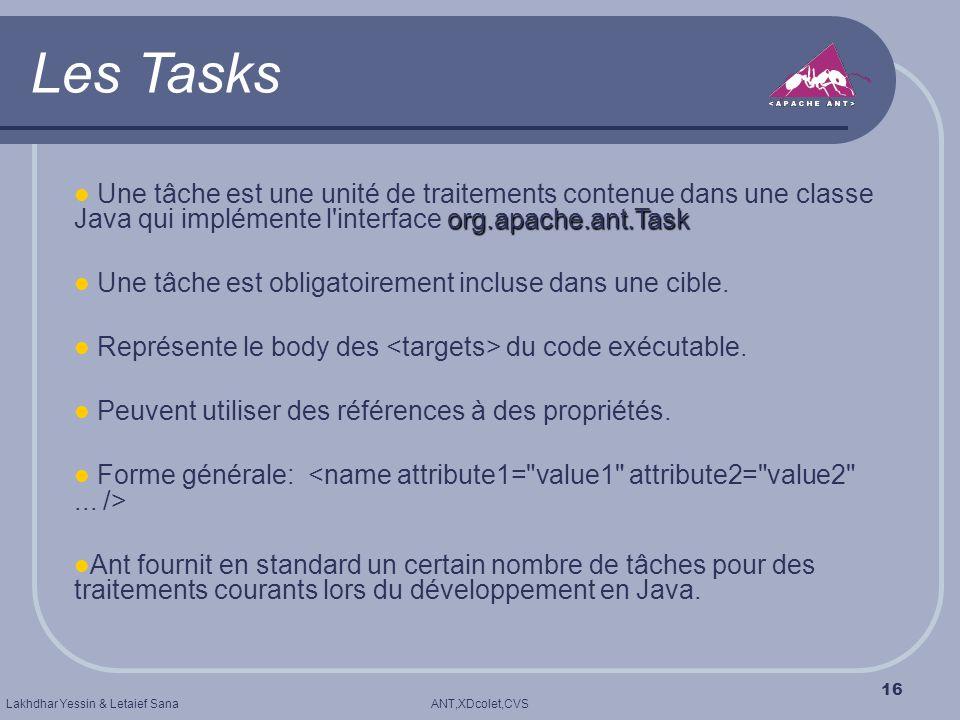 Les Tasks Une tâche est une unité de traitements contenue dans une classe Java qui implémente l interface org.apache.ant.Task.