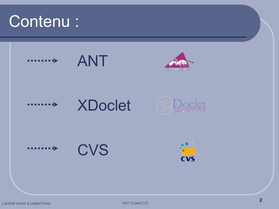 Contenu : ANT XDoclet CVS