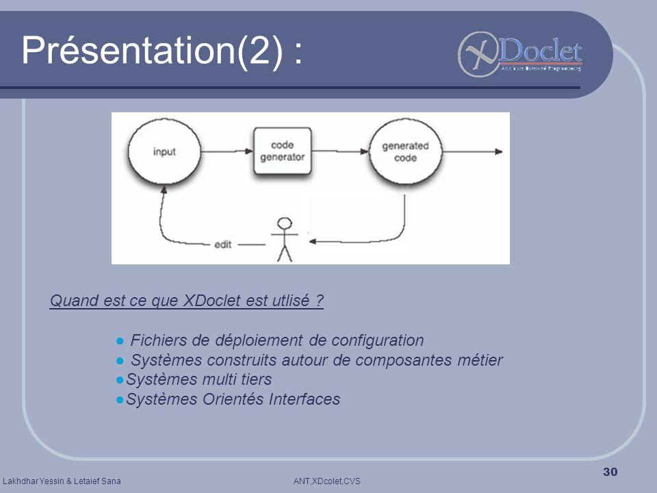 Présentation(2) : Quand est ce que XDoclet est utlisé