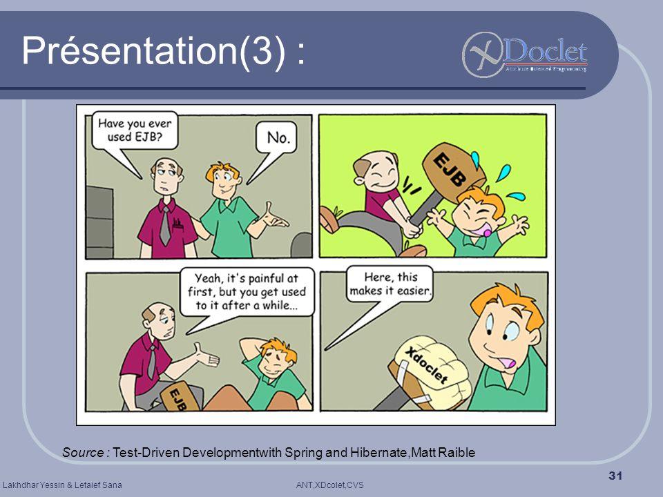 Présentation(3) : Source : Test-Driven Developmentwith Spring and Hibernate,Matt Raible