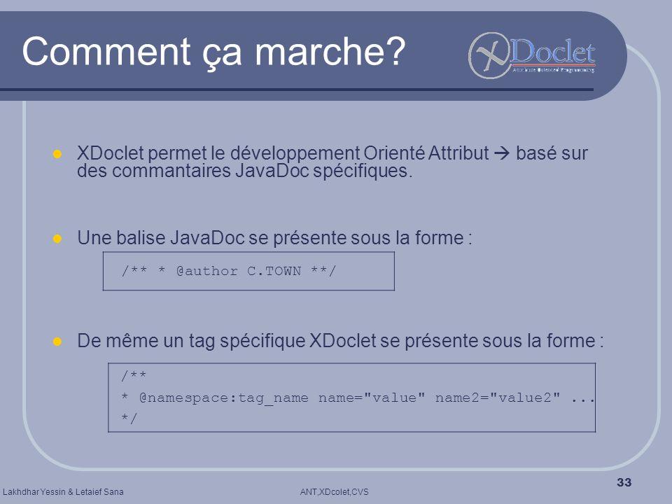 Comment ça marche XDoclet permet le développement Orienté Attribut  basé sur des commantaires JavaDoc spécifiques.