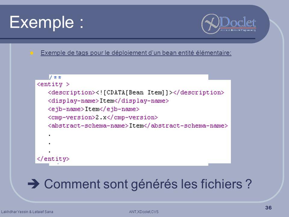 Exemple :  Comment sont générés les fichiers