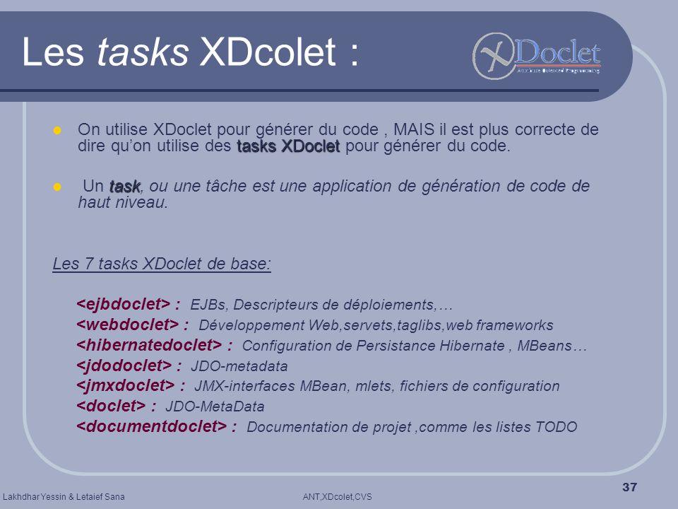 Les tasks XDcolet : On utilise XDoclet pour générer du code , MAIS il est plus correcte de dire qu'on utilise des tasks XDoclet pour générer du code.