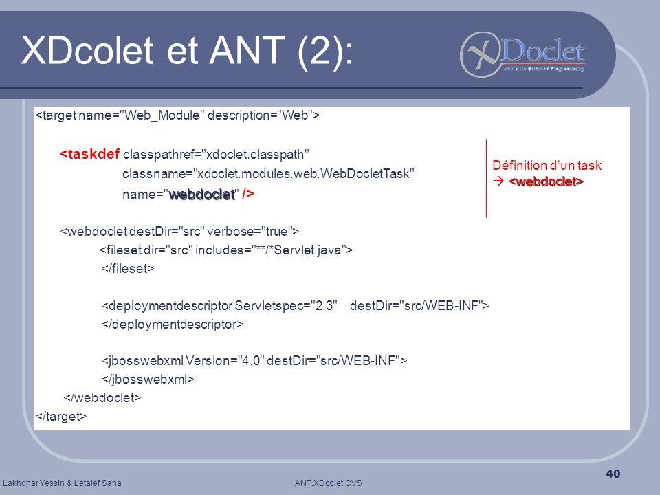 XDcolet et ANT (2): <taskdef classpathref= xdoclet.classpath