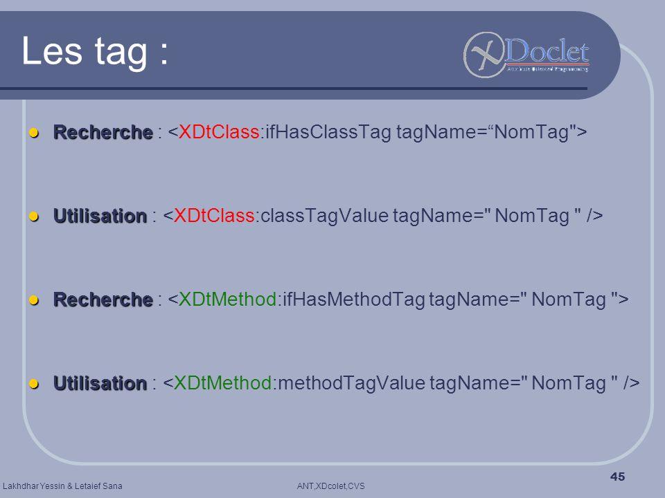 Les tag : Recherche : <XDtClass:ifHasClassTag tagName= NomTag >