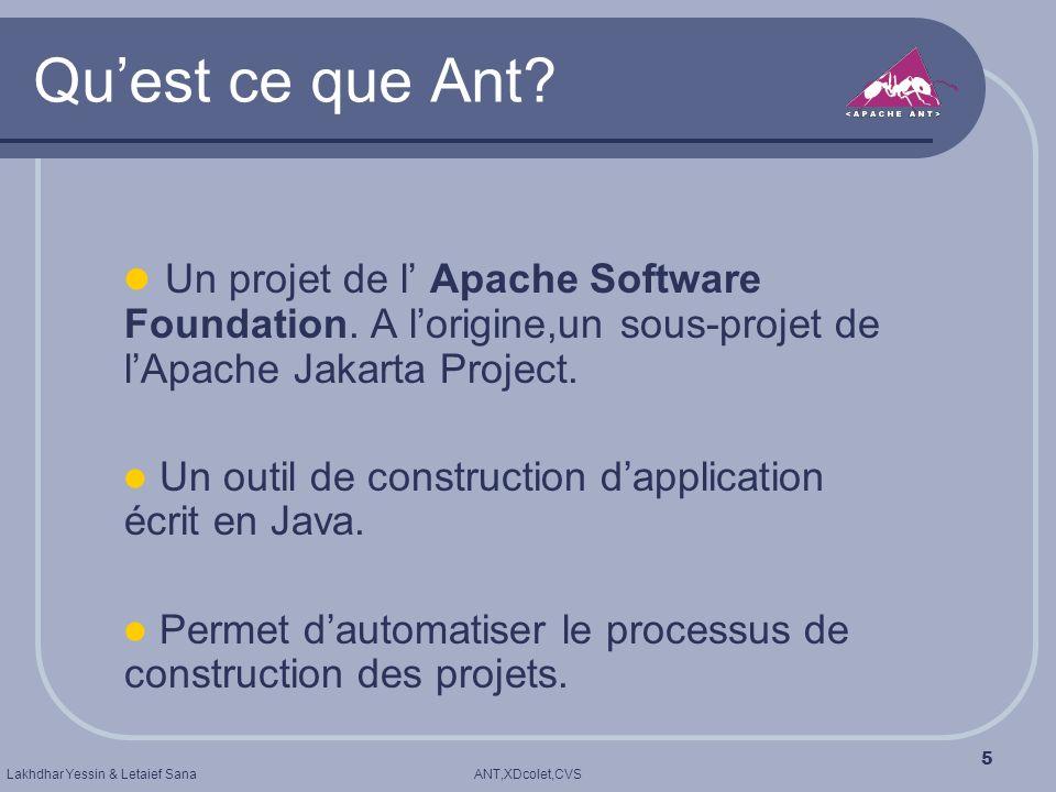 Qu'est ce que Ant Un projet de l' Apache Software Foundation. A l'origine,un sous-projet de l'Apache Jakarta Project.