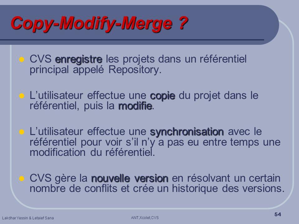 Copy-Modify-Merge CVS enregistre les projets dans un référentiel principal appelé Repository.