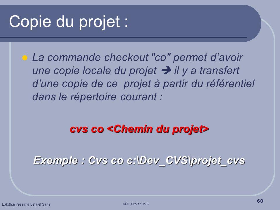 cvs co <Chemin du projet> Exemple : Cvs co c:\Dev_CVS\projet_cvs
