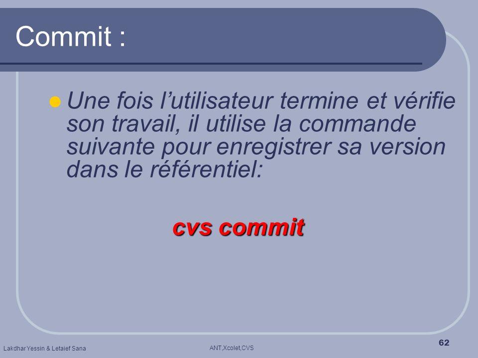 Commit : Une fois l'utilisateur termine et vérifie son travail, il utilise la commande suivante pour enregistrer sa version dans le référentiel: