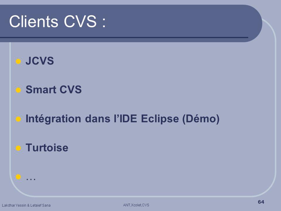 Clients CVS : JCVS Smart CVS Intégration dans l'IDE Eclipse (Démo)