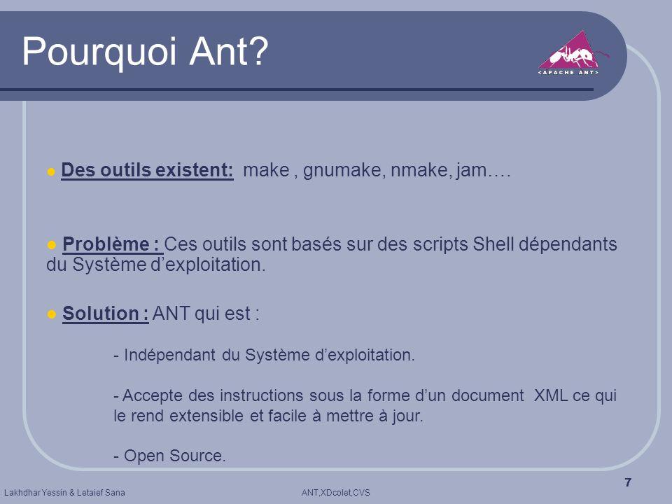 Pourquoi Ant Des outils existent: make , gnumake, nmake, jam….