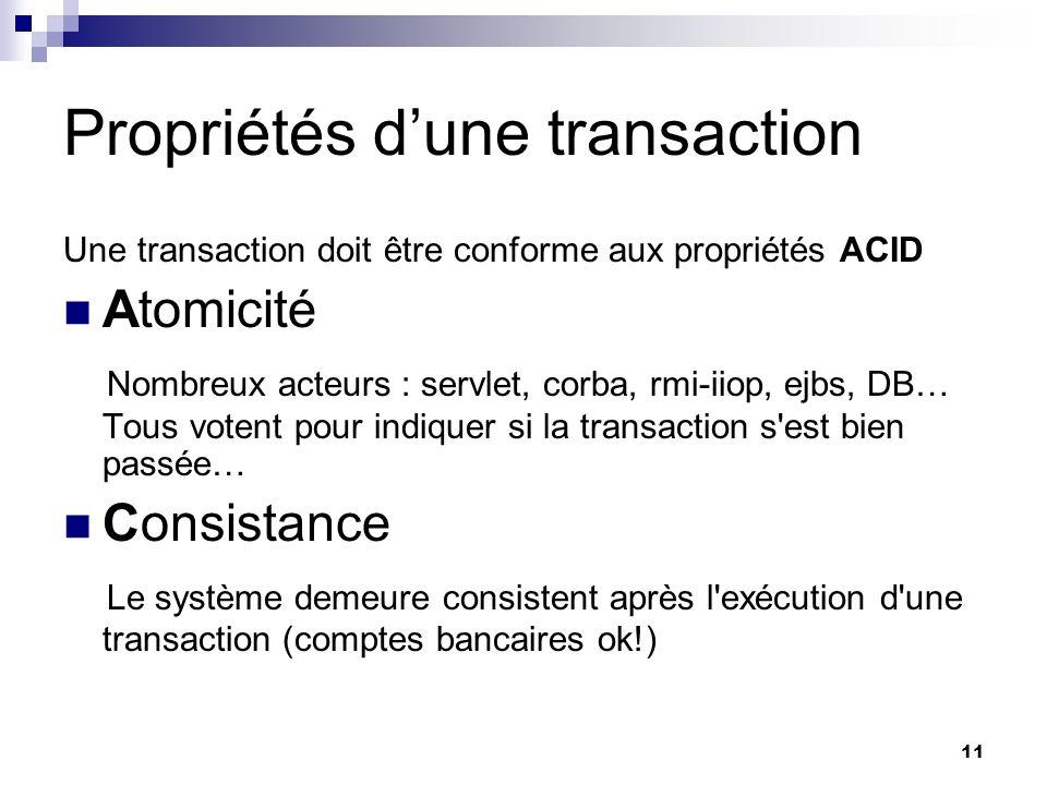 Propriétés d'une transaction