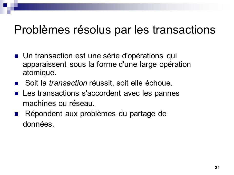 Problèmes résolus par les transactions