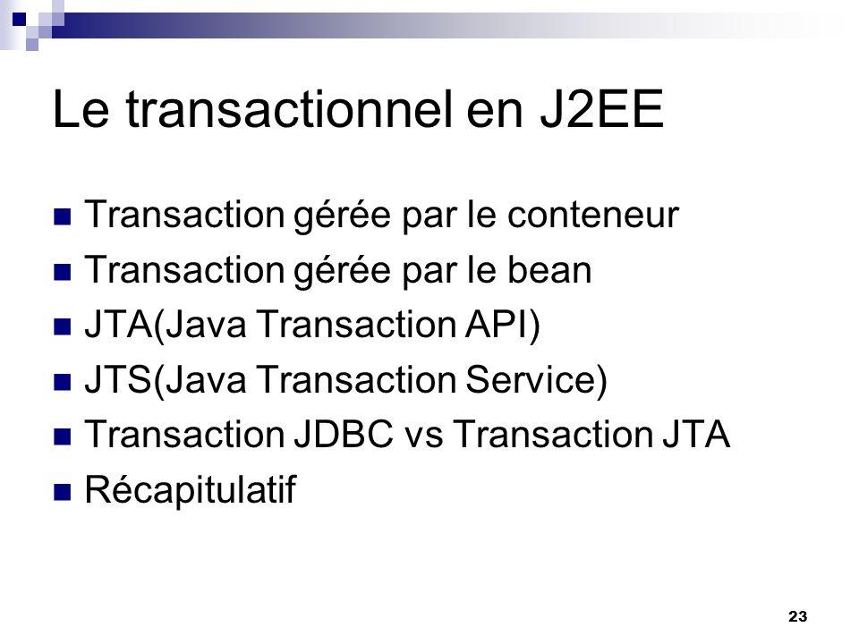 Le transactionnel en J2EE