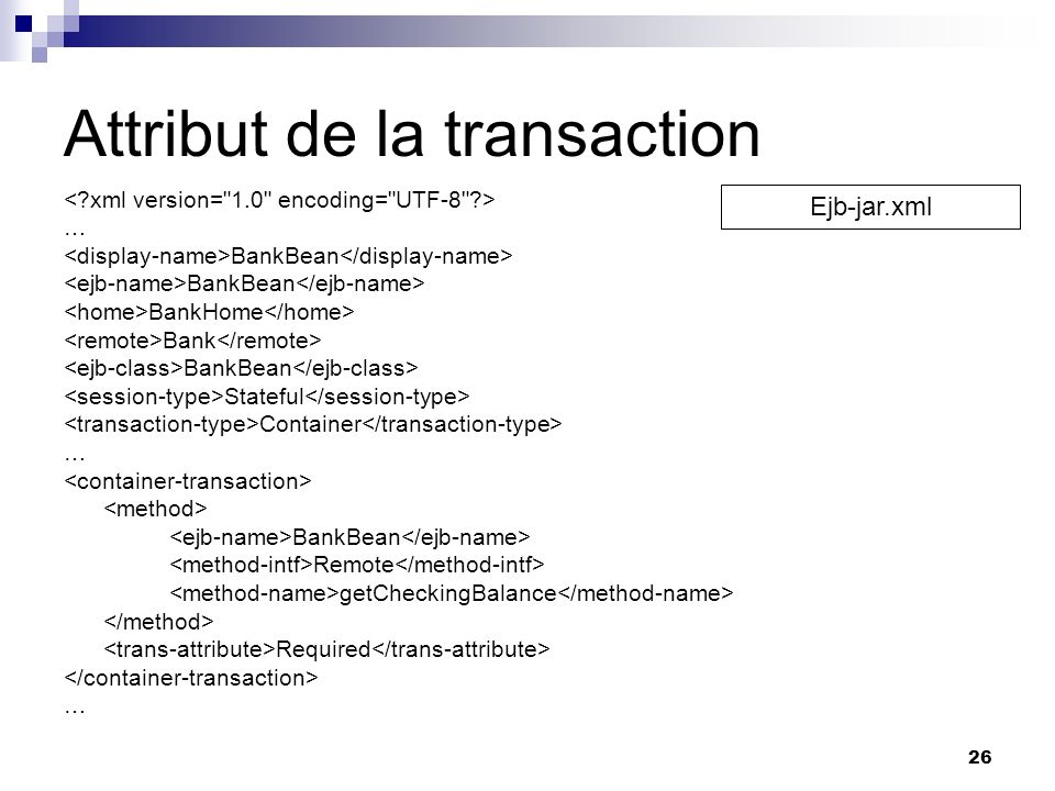 Attribut de la transaction