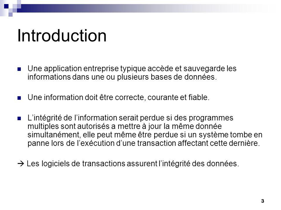 Introduction Une application entreprise typique accède et sauvegarde les informations dans une ou plusieurs bases de données.