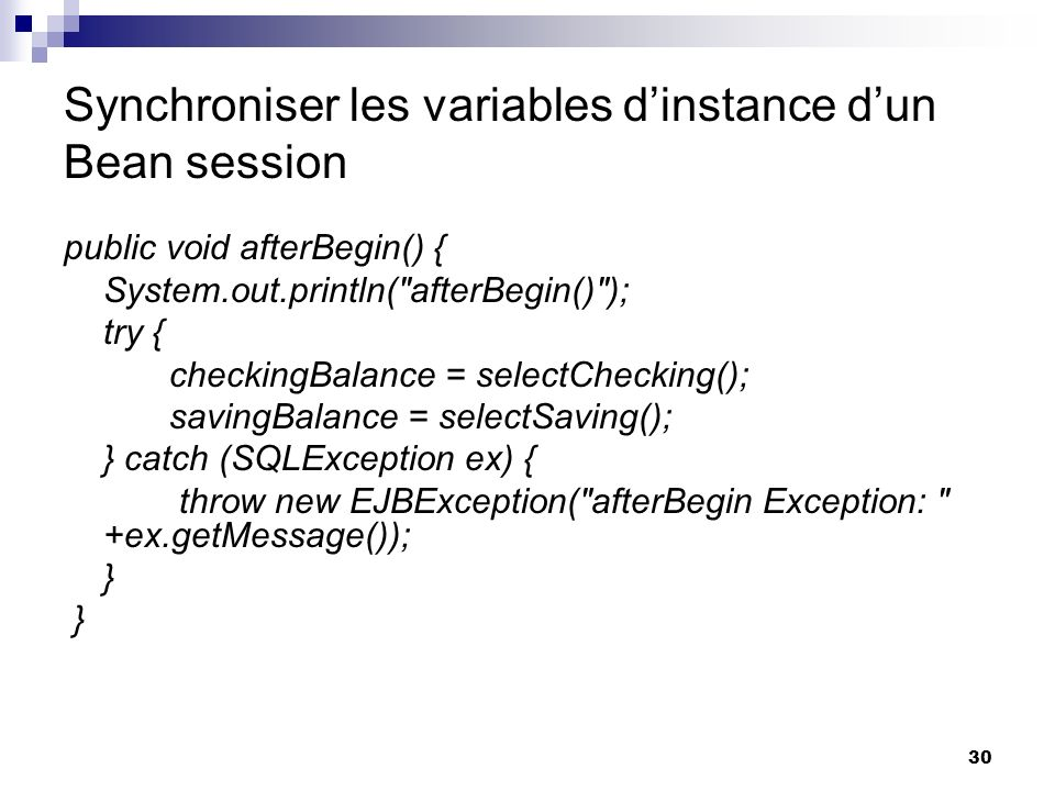 Synchroniser les variables d'instance d'un Bean session