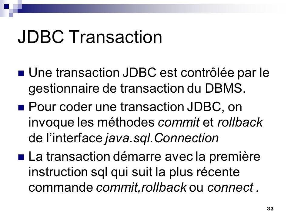 JDBC Transaction Une transaction JDBC est contrôlée par le gestionnaire de transaction du DBMS.